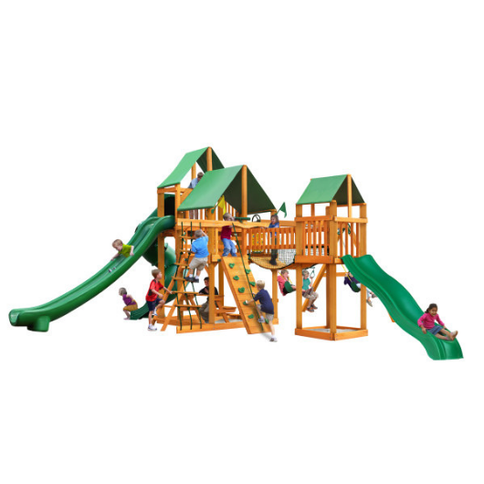 Gorilla Treasure Trove II Wooden Swing Set with Classic Green Vinyl Canopy