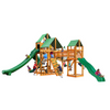 Image of Gorilla Treasure Trove II Wooden Swing Set with Classic Green Vinyl Canopy