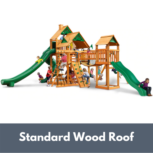 Gorilla Treasure Trove II Wooden Swing Set with Standard Wood Roof