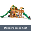 Image of Gorilla Treasure Trove II Wooden Swing Set with Standard Wood Roof