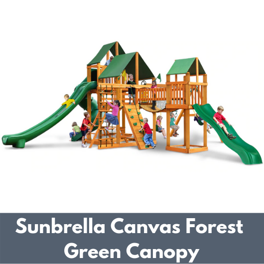 Gorilla Treasure Trove II Wooden Swing Set with Sunbrella Canvas Forest Green Vinyl Canopy