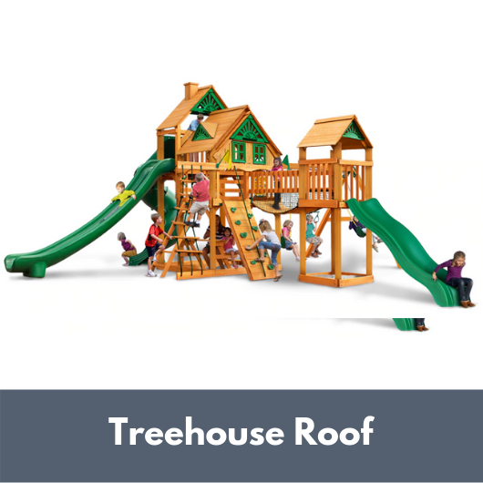 Gorilla Treasure Trove II Wooden Swing Set with Treehouse Roof