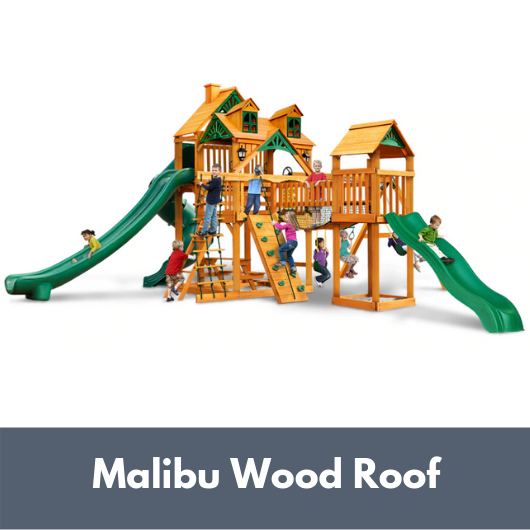 Gorilla Treasure Trove II Wooden Swing Set with Malibu Wood Roof
