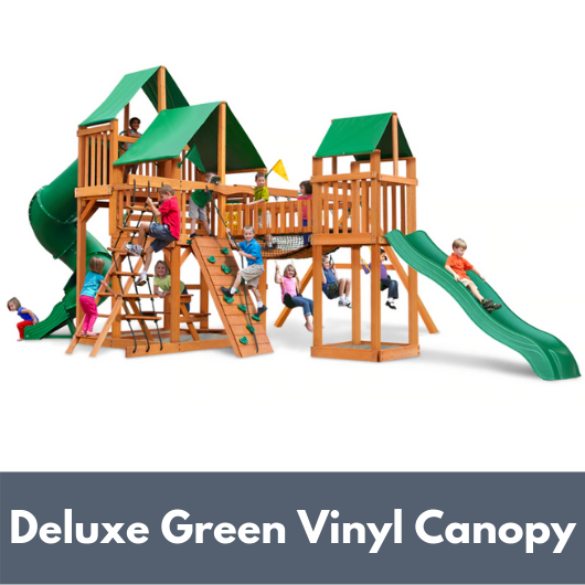 Gorilla Treasure Trove I Wooden Swing Set with Deluxe Green Vinyl Canopy