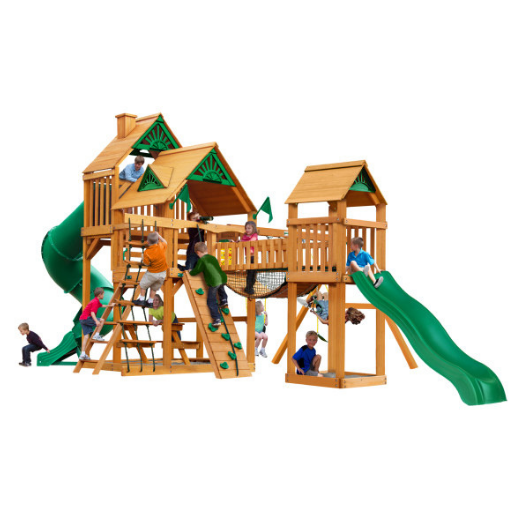 Gorilla Treasure Trove I Wooden Swing Set with Standard Wood Roof