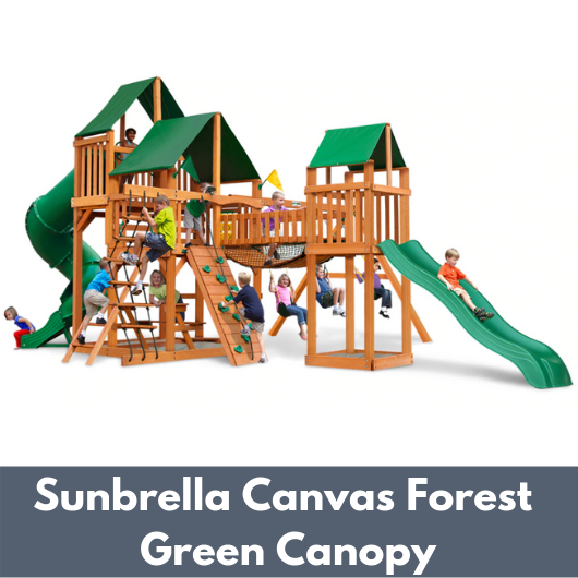 Gorilla Treasure Trove I Wooden Swing Set with Sunbrella Canvas Forest Green Canopy