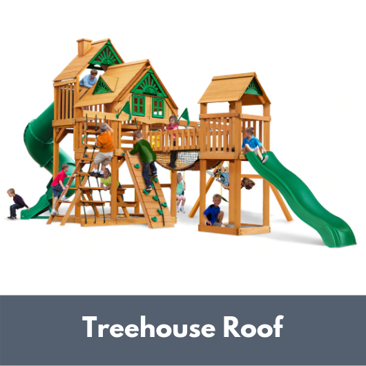 Gorilla Treasure Trove I Wooden Swing Set with Treehouse Roof