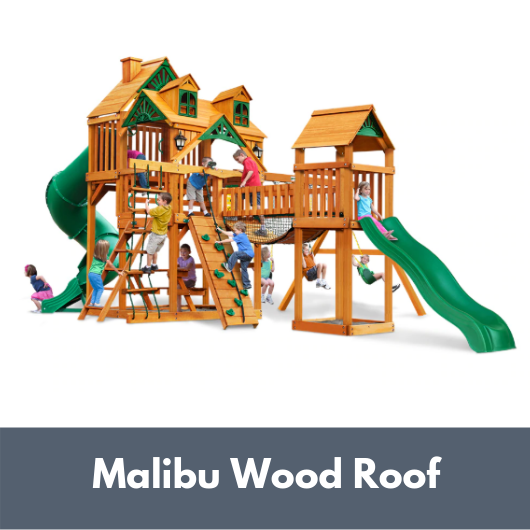 Gorilla Treasure Trove I Wooden Swing Set with Malibu Wood Roof