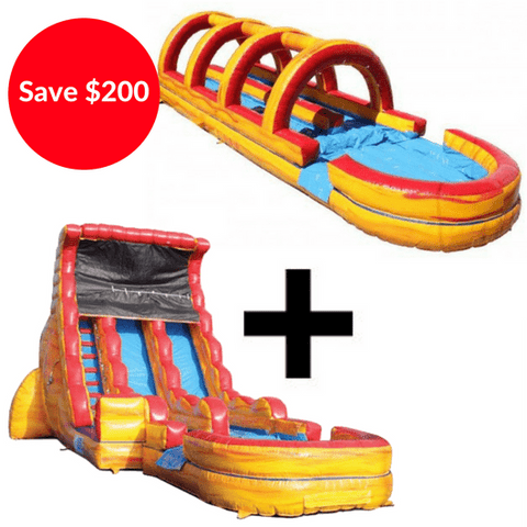 19'H Dual Lane Volcano Slide + Inflatable Slip And Slide Bundle