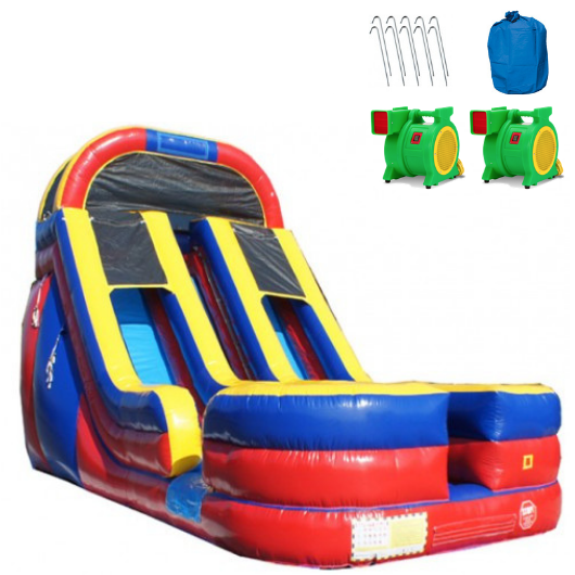 Inflatable slide - 18'h dual lane inflatable water slide - the Outdoor Play Store