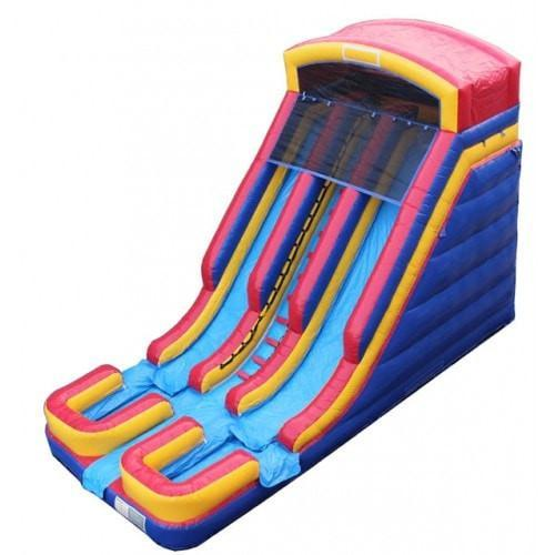 Inflatable Slide - 18'H Dual Lane Inflatable Wet/Dry Slide With Pool - The Bounce House Store
