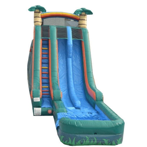 Inflatable Slide - 22'H Dual Lane Inflatable Palm Tree Slide With Pool - The Bounce House Store