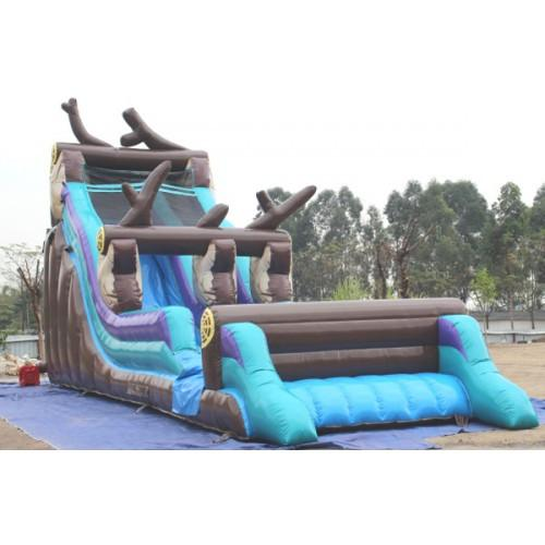 Inflatable Slide - 21' H Log Mountain Commercial Slide Wet/Dry - The Bounce House Store