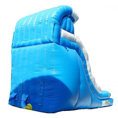 Inflatable Slide - 18'H Blue Wave Inflatable Slide Wet/Dry - The Bounce House Store