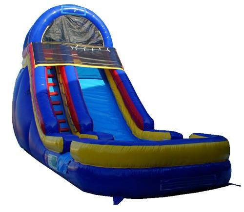 Inflatable Slide - 18'H Cool Blue Inflatable Slide Wet/Dry - The Bounce House Store
