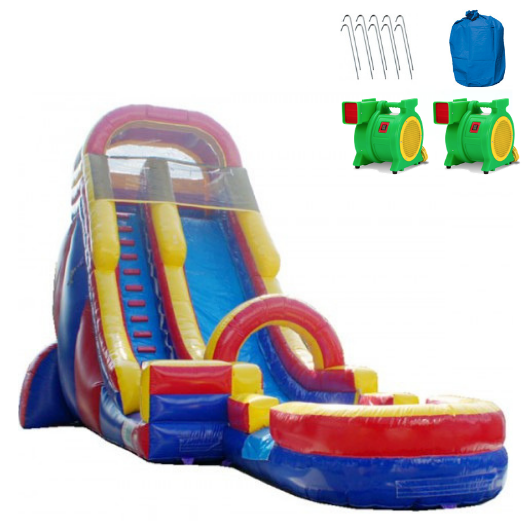 Inflatable Slide - 20'H Rainbow Screamer Inflatable Slide Wet/Dry - The Bounce House Store