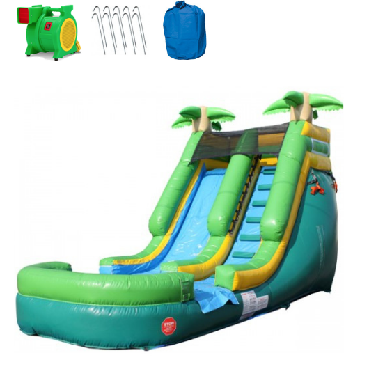 Inflatable Slide - 13'H Palm Tree Inflatable Slide Wet/Dry - The Outdoor Play Store