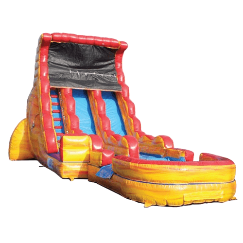 red and yellow volcano water slide with dual lanes for side by side racing