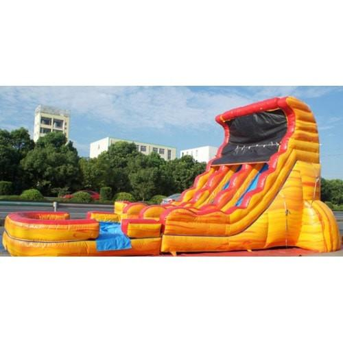Inflatable Slide - 19'H Dual Lane Inflatable Wet/Dry Slide With Pool - The Bounce House Store