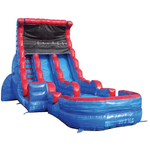 Inflatable Slide - 19'H Tsunami Dual Lane Inflatable Wet/Dry Slide With Pool - The Bounce House Store