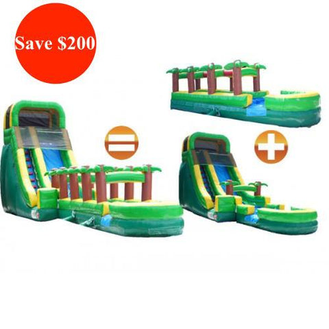 tropical commercial water slide with slip n slide shown as a bundle with savings