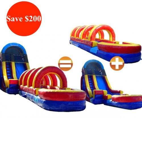 Commercial Bounce House - 22'H Rainbow Commercial Slide + Slip N Slide Bundle - The Bounce House Store