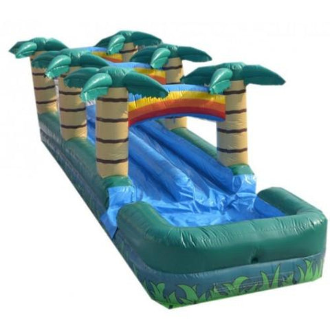 Inflatable Slide - 36'L Inflatable Double Lane Slip And Slide With Pool - The Bounce House Store