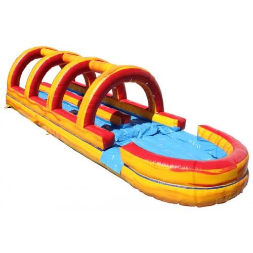Inflatable Slide - Dual Lane Volcano Inflatable Slip N Slide with Pool - The Bounce House Store