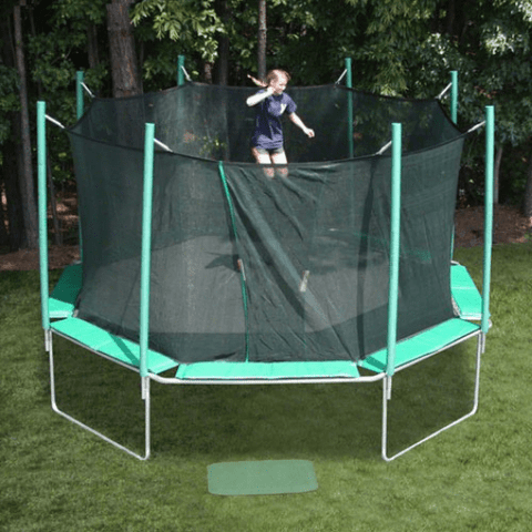 bouncing on the magic circle trampoline with safety enclosure