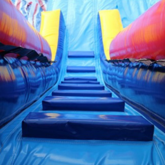 stairs to the slide platform on the water slide
