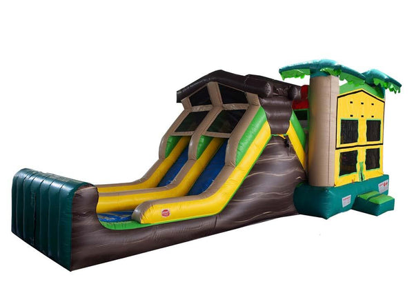 Commercial Bounce House - Double Lane Jump And Slide Tropical - The Bounce House Store