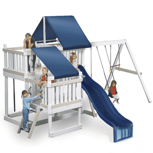 congo monkey playsystem #2 swing set white with blue accessories