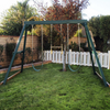 Image of congo swing central 3 position swing set in green color