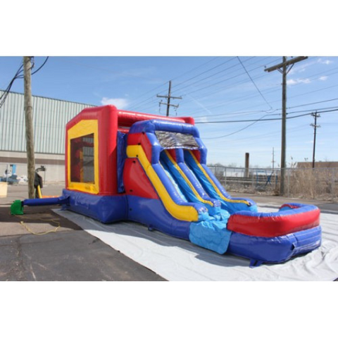 Commercial Bounce House - 2-Lane Module Combo Bouncer Wet n Dry - The Bounce House Store