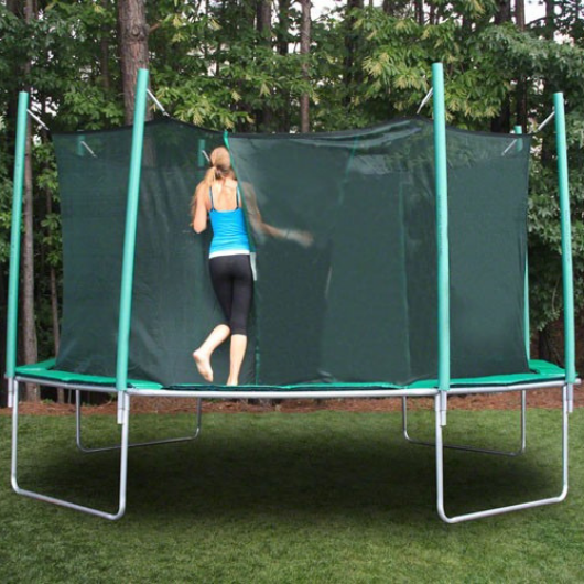 entering the magic circle octagon trampoline with safety enclosure