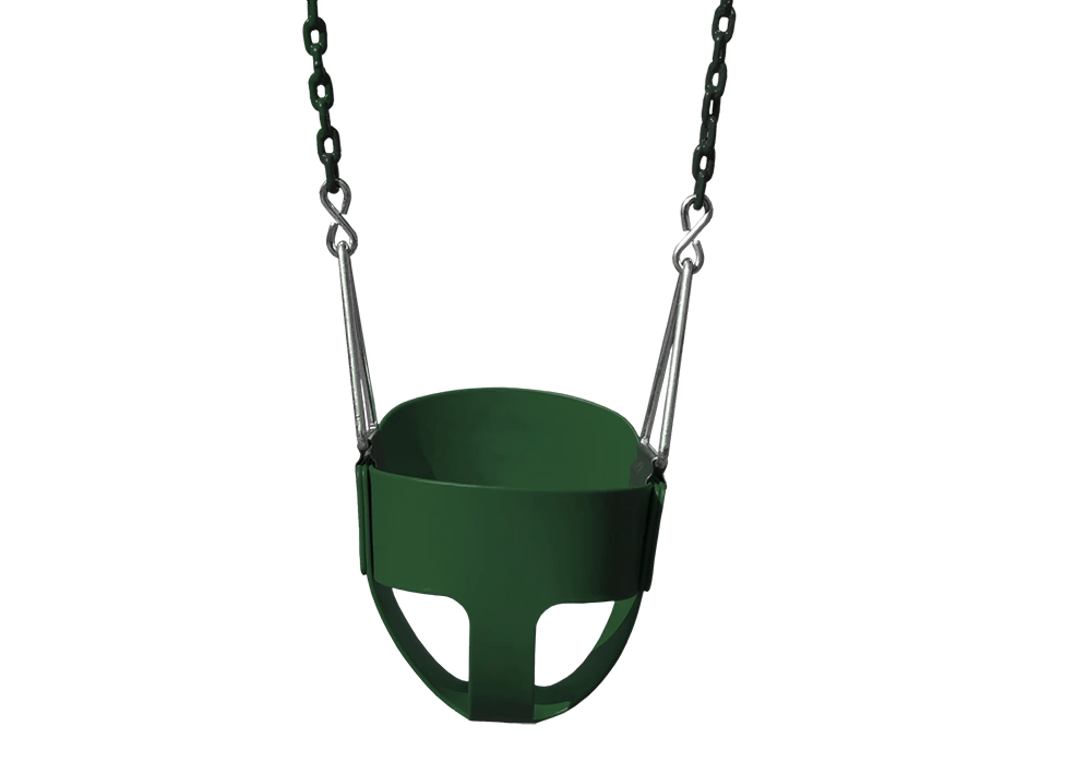 full bucket toddler swing by gorilla playsets in green color - Swing Set Accessories