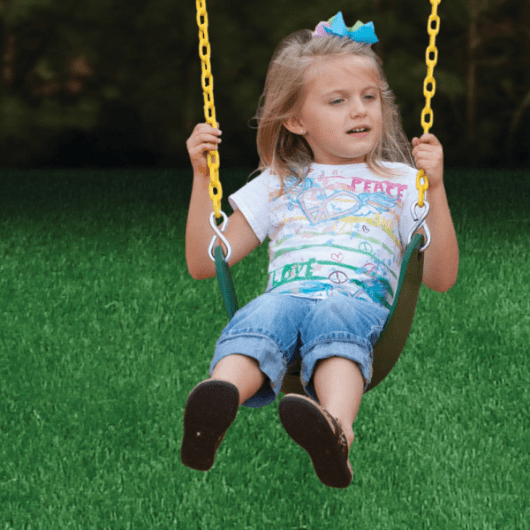 girl swinging on gorilla swing set