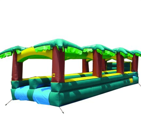 Slip N Slide - 30'L Happy Jump Dual Lane Hawaiian Slip N Slide - The Bounce House Store