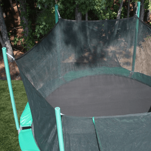overhead view of 13.5' round magic circle trampoline with safety cage