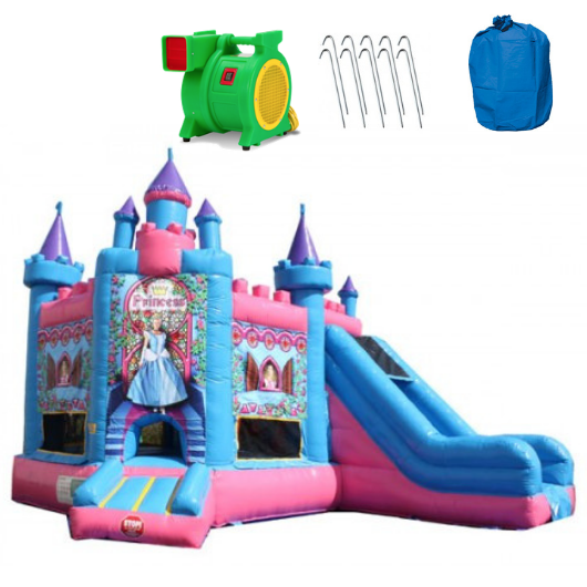 princess castle commercial bounce house with slide combo