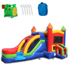Rainbow Castle Commercial Bounce House With Slide Combo