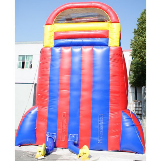 back of the screamer inflatable water slide with two blowers