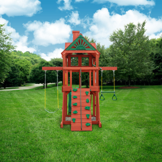 rear view of the gorilla space saver swing set