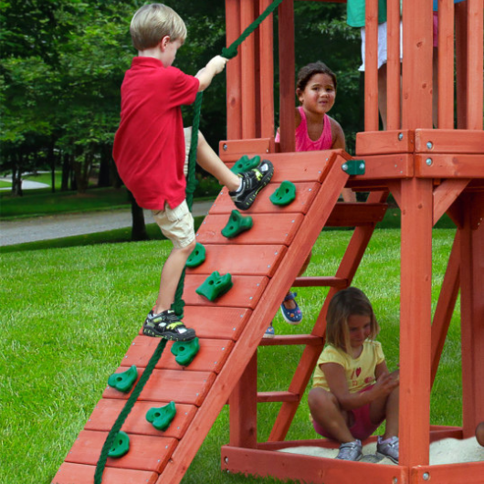rock climbing wall on gorilla swing set