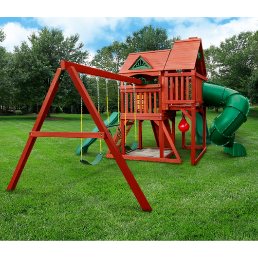side view of the gorilla five star deluxe wooden swing set