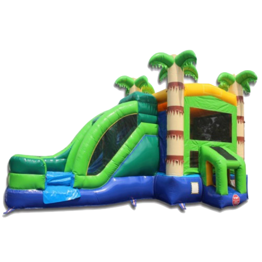tropical commercial bounce house with slide and palm trees