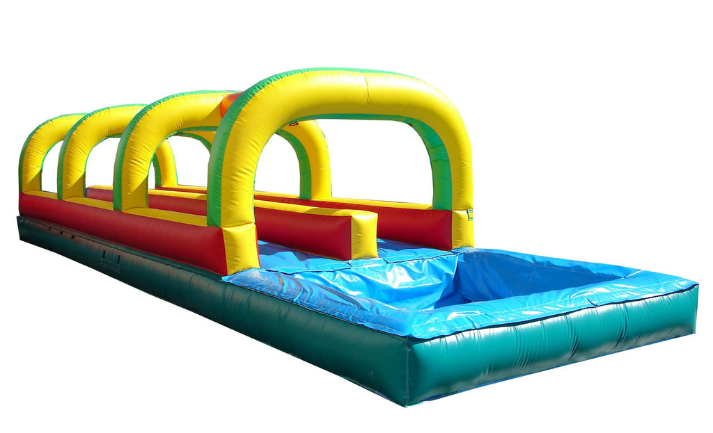 Slip N Slide - 40'L Happy Jump Dual Lane Slip N Slide With Pool - The Bounce House Store