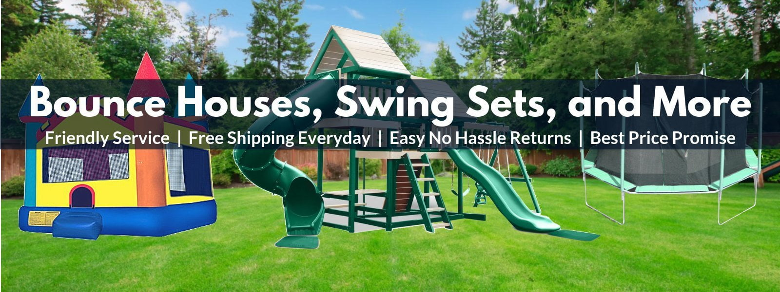 bounce houses, swing sets, and outdoor play equipment