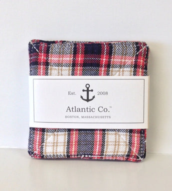 Red Plaid Flannel Coaster Set/4