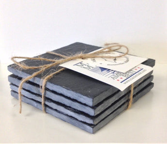 Black Maine Slate Coaster Set/4